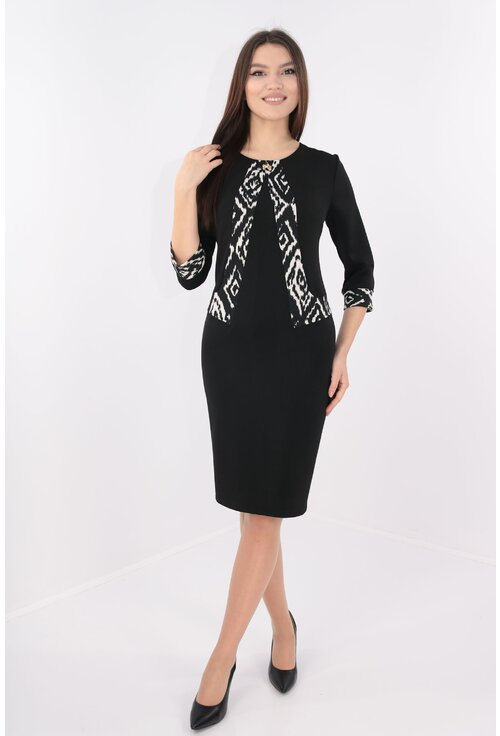 Rochie office neagra cu garnitura model abstract