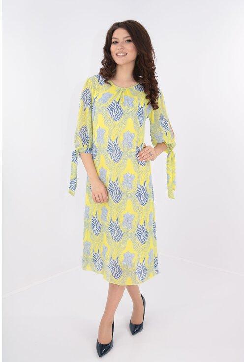 Rochie vaporoasa din voal galben cu print albastru