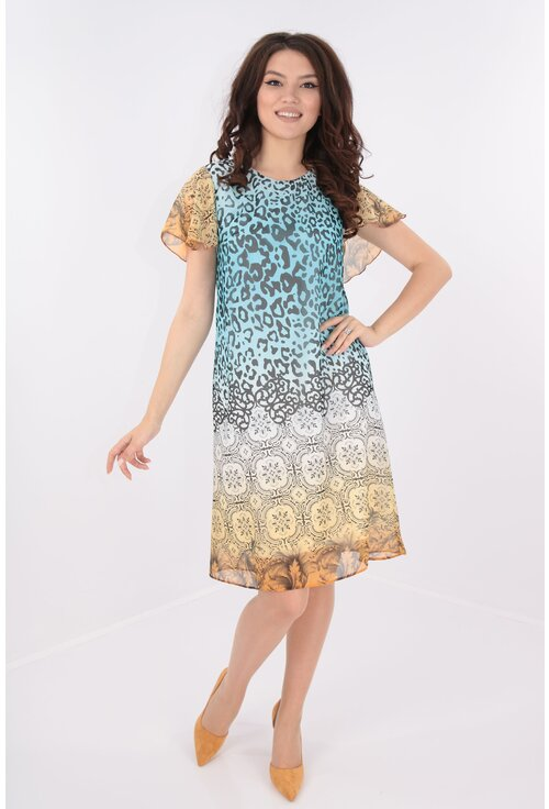 Rochie vaporoasa din voal imprimat cu bordura
