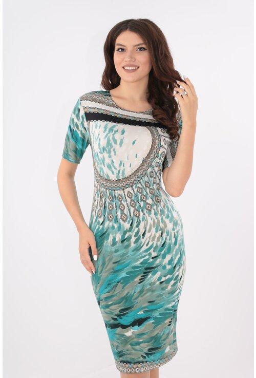 Rochie verde aqua cu print abstract