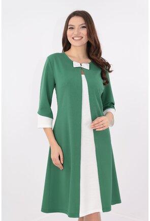 Rochie verde cu insertii albe cu aspect suprapus