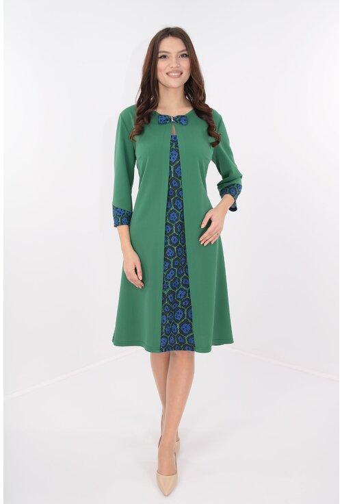 Rochie verde cu insertii multicolore cu aspect suprapus