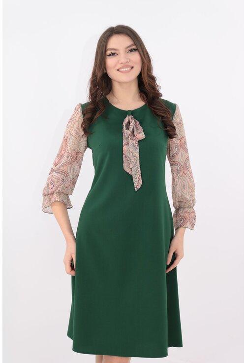 Rochie verde cu maneci din voal cu print geometric
