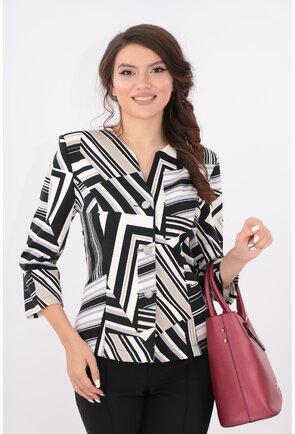 Sacou alb cu print geometric negru-gri