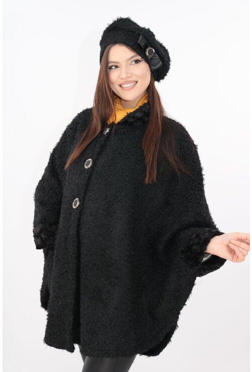 Set elegant poncho si bereta din stofa bucle neagra