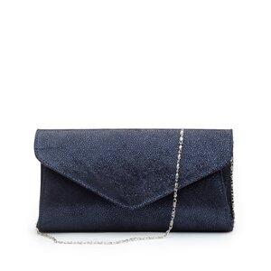 Geanta plic dama din piele naturala,Leofex - 4014 Blue lucios velur