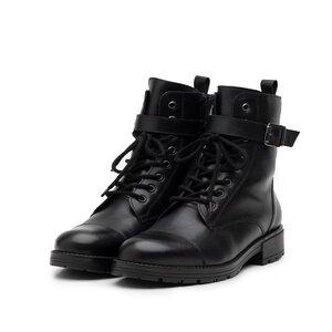 Ghete dama military din piele naturala, Leofex - 079-2 negru box