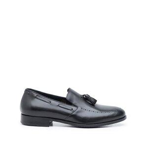 Pantofi barbati eleganti din piele naturala cu ciucuri, Leofex -515 Negru Box