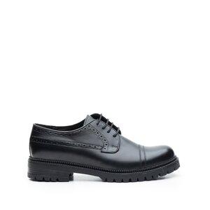 Pantofi casual barbati din piele naturala, Leofex- 1001 Negru Box