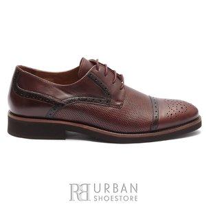 Pantofi casual barbati din piele naturala,Leofex - 537-1 Visiniu box perforat