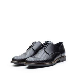 Pantofi casual barbati din piele naturala,Leofex - 584 Negru Box