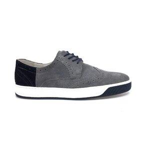 Pantofi casual barbati din piele naturala,Leofex - Mostra 975-1 Gri+blue velur