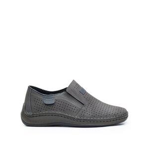 Pantofi casual barbati, perforati din piele naturala,Leofex - 595 Gri Nabuc