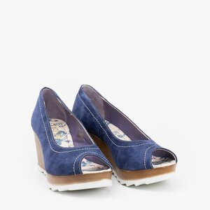 Pantofi casual cu platforma dama din piele naturala- 531-1 Albastru Velur