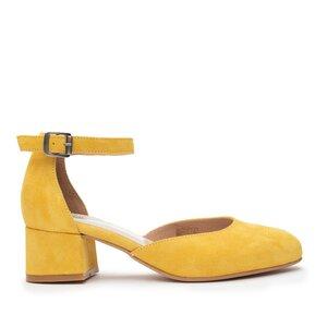 Pantofi casual cu toc dama de piele naturala, Leofex - 221 Galben Velur
