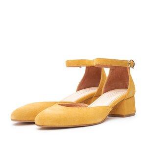 Pantofi casual cu toc dama de piele naturala, Leofex - 221 Mustariu Velur