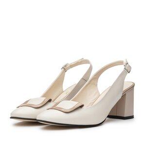Pantofi casual cu toc,dama din piele naturala - 791/1 Crem Box