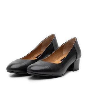 Pantofi casual cu toc dama din piele naturala Leofex - 231-1 Negru Box