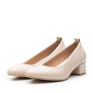 Pantofi casual cu toc dama din piele naturala, Leofex - 231 Nude Box