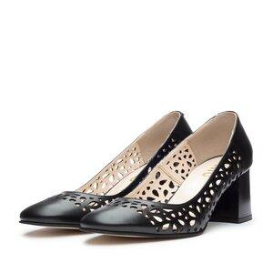 Pantofi casual cu toc dama, perforati din piele naturala - 791/5 Negru Box