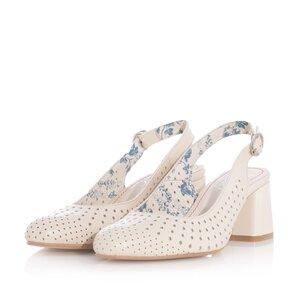 Pantofi casual cu toc dama, perforati si decupati la spate din piele naturala, Leofex - 247 Bej box