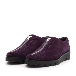 Pantofi casual dama cu fermoar din piele naturala,Leofex - 285 Mov velur