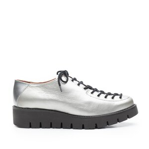 Pantofi casual dama cu siret pana in varf din piele naturala, Leofex- 194 Argintiu Box Lac