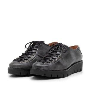 Pantofi casual dama cu siret pana in varf din piele naturala, Leofex- 194 Negru gri box
