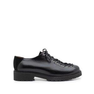 Pantofi casual dama cu siret pana in varf, Leofex- 561 Negru Florantic Velur