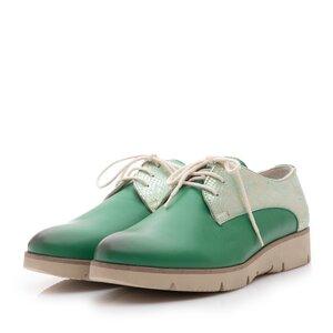 Pantofi casual dama din piele naturala ,Leofex- 200 Verde Argintiu Box