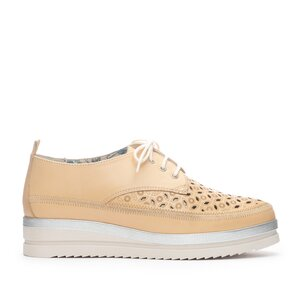 Pantofi casual dama din piele naturala, Leofex - 240 Bej Box