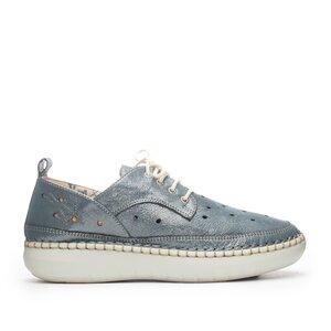 Pantofi casual dama din piele naturala, Leofex - 242 Azur Metalizat