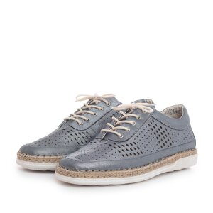 Pantofi casual dama din piele naturala, Leofex - 243 Azur metalizat