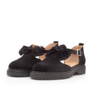 Pantofi casual dama din piele naturala,Leofex - 300 Negru velur