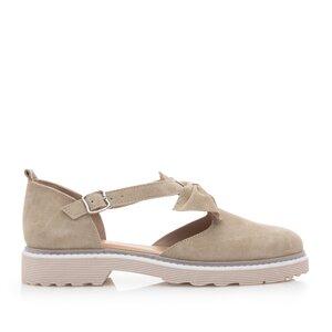 Pantofi casual dama din piele naturala,Leofex - 300 Taupe velur