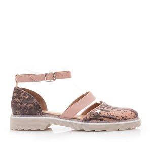 Pantofi casual dama din piele naturala,Leofex - 301 Roz box maro