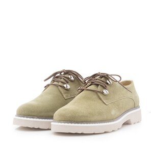 Pantofi casual dama din piele naturala,Leofex - 346 Kaki velur