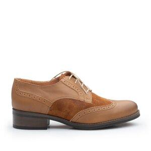 Pantofi casual dama, Oxford din piele naturala, Leofex - 012 Maro box