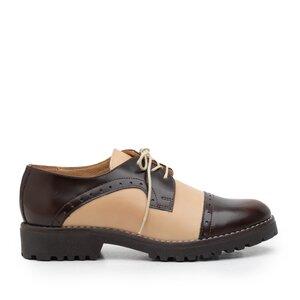 Pantofi casual dama din piele naturala,Leofex - 399 taupe-maro