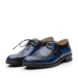 Pantofi casual dama din piele naturala,Leofex - 616 blue