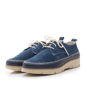 Pantofi casual din piele naturala Leofex- 198 Blue Velur