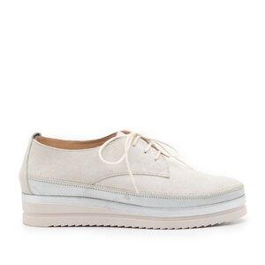 Pantofi casual dama din piele naturala Leofex - 240 Bej velur + argintiu