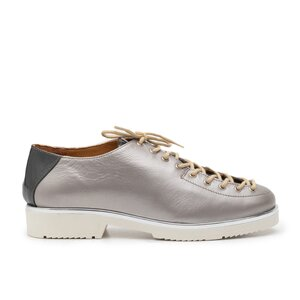 Pantofi casual dama cu siret pana in varf din piele naturala, Leofex- 194 -1 argintiu sidef lac