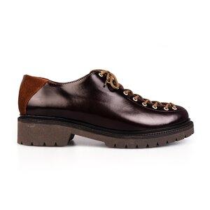 Pantofi casual dama cu siret pana in varf Leofex- 561 Visiniu