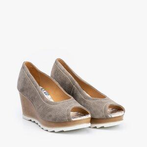 Pantofi dama casual cu platforma din piele naturala- 531-1 Gri Velur