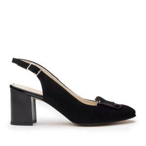 Pantofi  casual cu toc dama, din piele naturala - 791/1CN Negru Velur