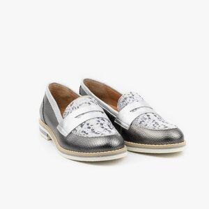 Pantofi dama casual din piele naturala - 031 gri metalizat box