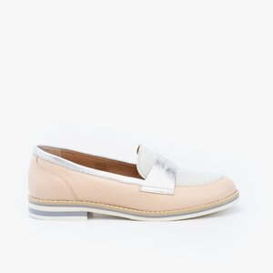 Pantofi dama casual din piele naturala - 031 Roz argintiu box