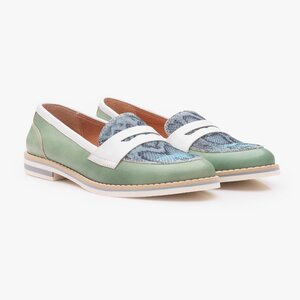 Pantofi dama casual din piele naturala - 031 verde deschis box