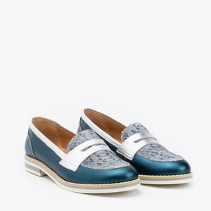 Pantofi dama casual din piele naturala - 031 verde sidefat box